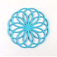 Mantel individual resistente al calor con forma de flor y aislamiento de silicona Coaster_Blue 20x20cm Posavasos