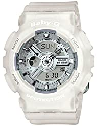 BABY-G BA-110-7A2ER - Reloj de cuarzo para mujer, correa de resina color blanco