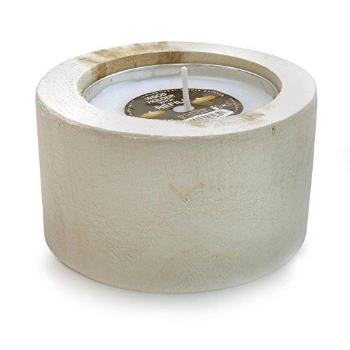 Outdoorkerze WOOD Holz Naturholz Kerzenhalter | mit Kerze weiß | 12 H Brenndauer