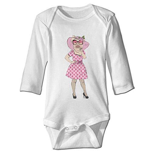 Monicago Neugeborenes Baby Jungen Mädchen Babybody Langarm, Baby Boys Girls Bodysuit Dressed Up Piggy Girl Jumpsuit Onesies Long Sleeve Unisex