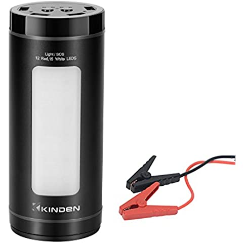 Kinden alluminio Car Jump Starter 12000 mAh Power Bank portatile emergenza