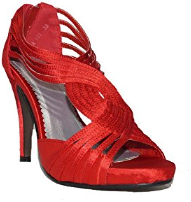 QUNHUI - QUNHUI Tacón Spider A689 Zapatos Fiesta Tacón Rojos con Plataforma Elegantes Cómodos Moda de Mujer -
