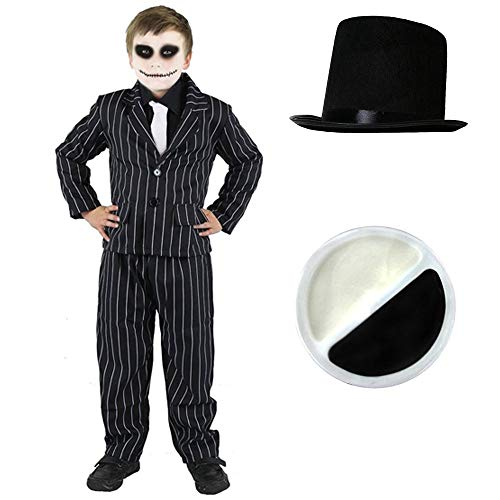 er Jack Skellington KOSTÜM VERKLEIDUNG+ Make UP Halloween+Zylinder=BEINHALTET NADELSTREIFEN Anzug+WEISSEN Krawatte AN ELASTISCHEM Gummiband =SMALL ()