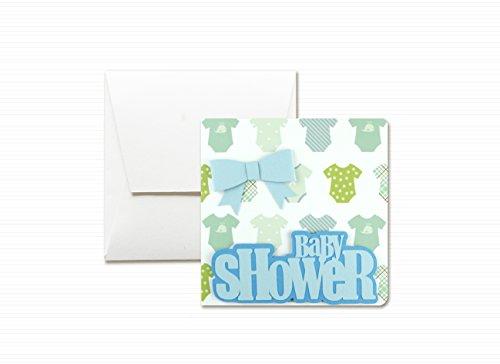 Baby shower - fiocco azzurro - bambino - biglietto d'auguri (formato 12 x 12 cm) - vuoto all'interno, ideale per il tuo messaggio personale - realizzato interamente a mano.