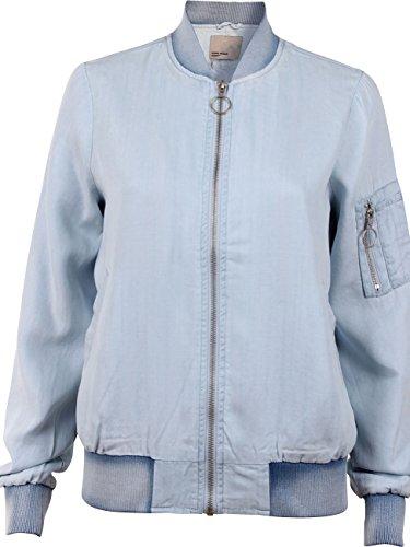 Vero Moda Vmzoe Ls Tencel Bomber Jacket Ga, Blouson Femme Bleu jeans clair