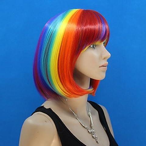 OOFAY JF® Europa y los Estados Unidos se venden como pan caliente ms pelo corto colorido arco iris bob peluca , multicolor