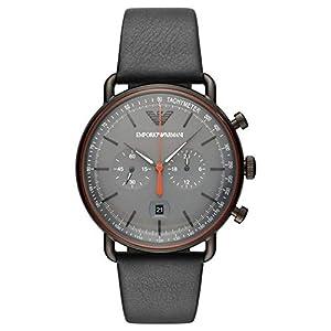 Emporio Armani Mens Chronograph Quartz Watch with Leather Strap AR11168
