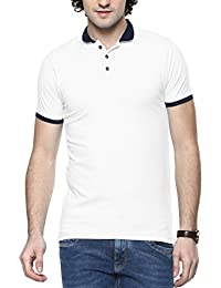 9ZEUS Half Sleeve Slim Fit 100% Cotton White With Collar T-Shirt For Men