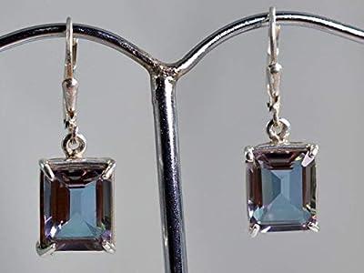 Boucles d'oreilles en argent sterling à Alexandrite 925 créées avec un laboratoire de changement de couleur de 100%