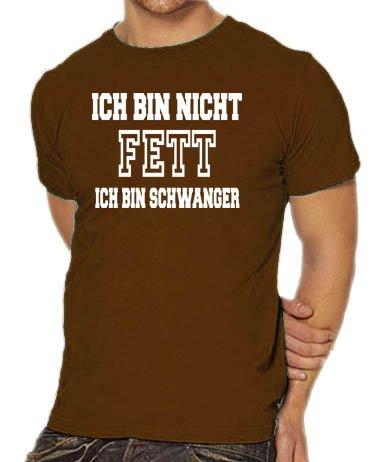 Touchlines Unisex/Herren T-Shirt Ich bin nicht FETT - Ich bin SCHWANGER, brown, XXL, (Ich Bin Kostüme Darth Vader Frauen Tshirt)