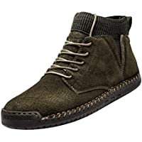 FeiBeauty - Men Motorcycle Boots Retro Combat Boots Men's Casual Shoes Breathable Socks Locomotive Tooling Shoe Fashion Casual Booties Cool Loafers Moccasins Winter Hiking Boots