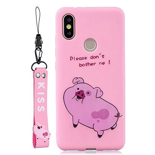 CUagain kompatibel mit Xiaomi Mi A2/Xiaomi Mi 6X Hülle Silikon Muster Motiv Lustig Matt Einfarbig Hüllen Handyhülle Ultra Dünn Gummi Cover Bumper Case Mädchen Damen,Schwein rosa -