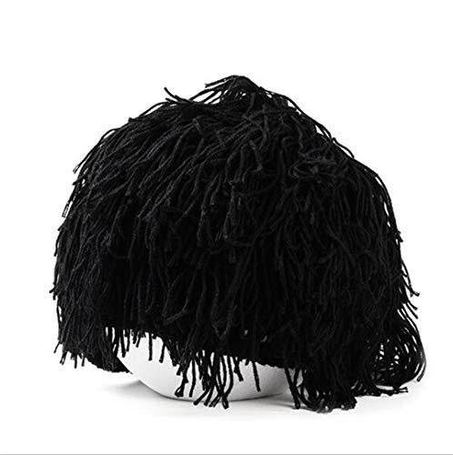 Schwarz/Grau Frauen Neuheit Knit Beanie Hut Wollmischung Vollbart -