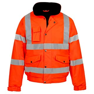 MyShoeStore Hi VIS Viz High Visibility Bomber Jacket Workwear Safety Security Concealed Hood Fluorescent Flashing Hooded Padded Waterproof Work Wear Coat S-4XL(Orange,XL)