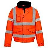 Myshoestore® ad alta visibilità Bomber ad alta visibilità da lavoro da uomo Wear imbottita impermeabile con cappuccio giacche taglia S-3X L Orange X-Large
