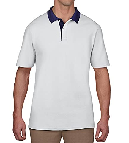 anvil - Polo Homme - Anvil Adult Piqué-Polo, Blanc (Wht White/Placket Navy Ka030), Large (Taille fabricant: L)