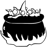 """Colour Black Witch on broomstick, cauldron vinyl sticker, decal Vinyl, Car Window, bedroom, wall ( 20cm Height or 8"""" ) ThatVinylPlace"""