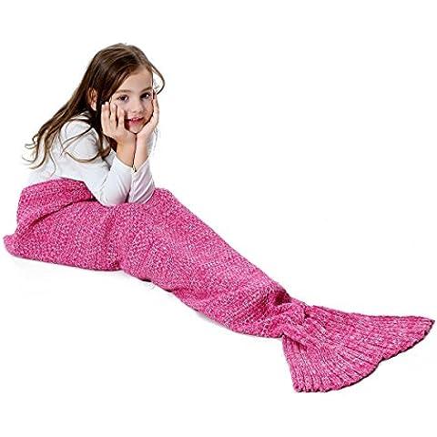 S-D Cola de Sirena manta Adulto niña, Todas las Temporadas De Punto Cobijas, Saco de dormir, Aire Acondicionado Edredón, croché manta sofá de la sala (Niños, Rosado - 2 140cm x