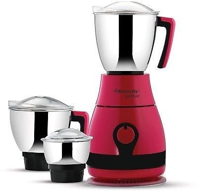 Butterfly Pebble 600W Mixer Grinder (Pink, 3 Jar)