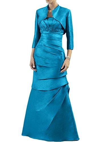 Gorgeous Bride Elegant Lang Traegerlos Etui-Linie Mit Bolero Taft  Brautmutterkleid Abendkleid Festkleid Ballkleid Blau