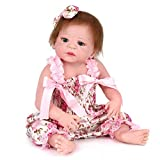 Zicue Lehrendes Kleinkind-Spielzeug populäres Säuglingsp Wiedergeburt Puppe Weiche Silikon Begleitende Schlafpuppen können Liegen Blinken wasserdichte Neugeborene Spielzeug