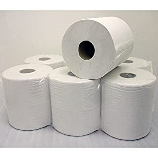 PACK OF 6 WHITE CENTREFEED ROLLS 2 PLY 140M X 180MM EMBOSSED PAPER TOWEL 0017