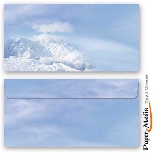 Motiv-Briefumschläge Winter BERGE IM SCHNEE 10 DIN LANG (110x220 mm) Briefumschläge ohne Fenster, Selbstklebend mit Abziehstreifen