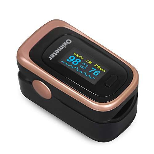 SXFYMWY Finger-Pulsoximeter tragbar mit OLED-Bildschirm und Schlafüberwachung Speicher Herzfrequenz-Erkennungsfunktion Finger-Oximeter,Gold,62x32x33mm