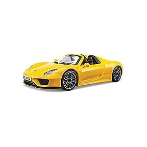 Bburago Porsche 918 Spyder - Modelo de Coche (Escala 1:24), Color Amarillo