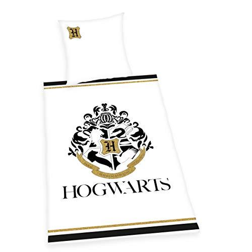 Herding Harry Potter Bettwäsche-Set, Baumwolle/Renforcé, Weiß, Kopfkissenbezug 80 x 80 cm, Bettbezug 135 x 200 cm