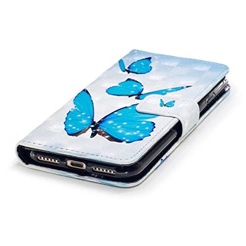 Coque pour iPhone 8 (4.7 Pouces),Portefeuille Housse Etui pour iPhone 7 (4.7 Pouces),Leeook 3D Effet Créatif Gris Ours Ballon Modèle Bookstyle Wallet Case Cover de Protection à Rabat Magnétique PU Cui Bleu Papillon