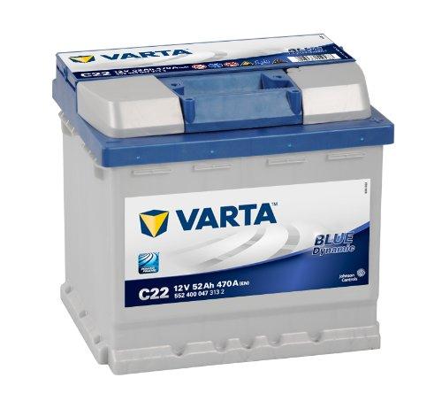 Varta Blue Dynamic 5524000473132 Autobatterien, C22, 12 V, 52 Ah, 470 A