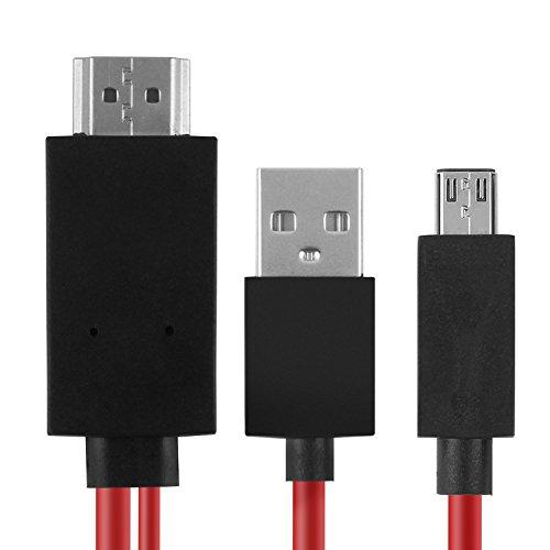 AMANKA 2m Micro USB zu HDMI Adapterkabel Mobile High Definition Android auf HDMI kable[Full HD Audio- und Bildübertragung 1080p] für Samsung S3 / S4 / S5, Galaxy Note ect (schwarz) (Tv-kabel S4 Android)