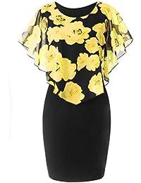 31e0854175 FNKDOR Summer Fashion Womens Ladies Evening Party Theatre Concert Elegnat  Charming Casual Plus Size Rose Print Chiffon O-Neck…