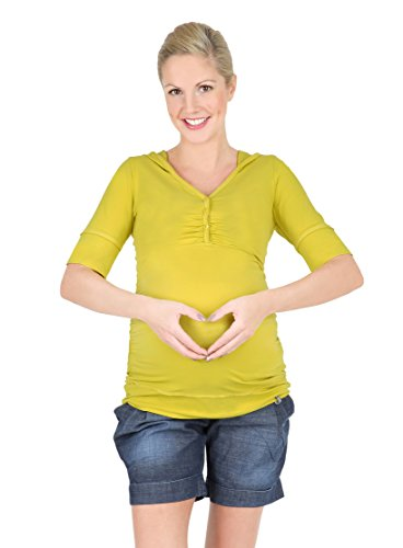 T-shirt pour maternité, t-shirt avec capuche pour allaitement, modèle : IMAN, à manches courtes et longues Manga corta/amarillo