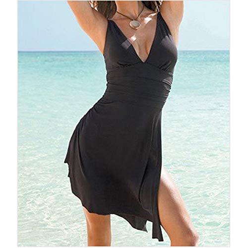 SHENGYUNPIO Black Plus Size Womens One-Piece Solid Swim Dress Swimsuit Bikini Swimwear -