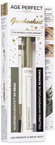 Age Perfect von L´Oreal Paris Geschenkset, bestehend aus schwarzer Volumen-Wimperntusche und gratis Augenbrauenstift, grau/taupe grey