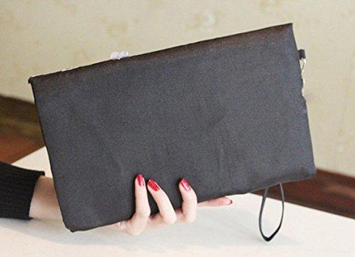 XYXM Ms frizione sacchetto cheongsam borsa frizione ricamati a mano pochette pacchetto banchetto , black Black