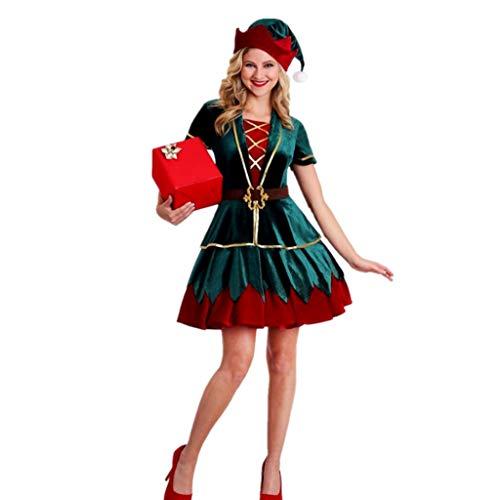 TINGSHOP Adult Christmas Elf Kostüm Von Santa Kostüm Für Frauen, Männer Grüne Liebhaber Kleiden Partei Partei Für Weihnachten, Karneval & Cosplay,Women,XL (Für Erwachsene Santa's Grüne Helfer Weihnachten Kostüm)