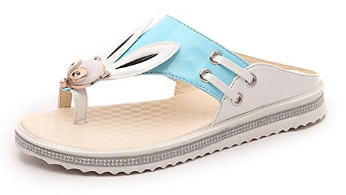 flip flops pantoufles d'été à plat doux sauvages diamant femme chaussures antidérapantes Blue