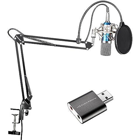 Neewer Kit di Microfono a Condensatore per Trasmissioni e Registrazioni in Studio & Braccio a Forbici Asta di Sospensione Regolabile con Adattatore USB 2.0 per Scheda Audio Stereo Esterna per Computer con Sistemi Windows & Mac - Braccio Dell'asta Asta Del Microfono