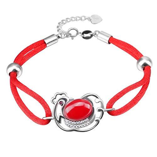 Damen-Armband Einstellbare s925 Silber rot Seil Tier Küken Kristall kreative wilde glückliche wilde Armbänder Armreif feine Mode Charme Elegante schön Edles perfekt geeignet als Geschenk -