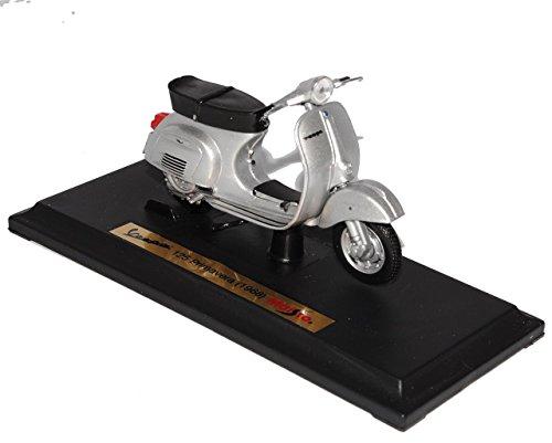 Preisvergleich Produktbild Vespa 125 Primavera Silber 1968 mit Sockel 1/18 Maisto Modell Motorrad mit individiuellem Wunschkennzeichen