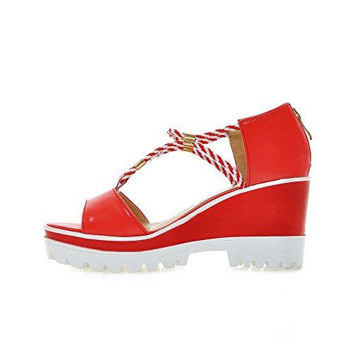 AllhqFashion Damen Weiches Material Offener Zehe Hoher Absatz Sandalen Rot