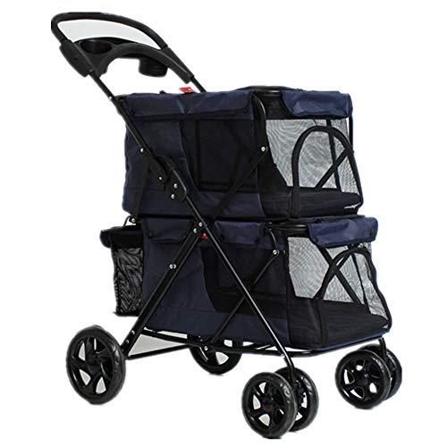 AJZXHE Rollstuhl für Haustiere Kinderwagen Leichter, Faltbarer Doppelkinderwagen (Color : B)