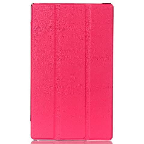 LMAZWUFULM Hülle für Lenovo Tab 3 8 (TB3-850F / TB3-850M) / Tab 2 A8-50 (8.0 Zoll) PU Leder Ultra Dünn Tri-Faltbar Lederhülle Custer Design im Bookstyle mit Stent-Funktion und Karten Slot Schutzhülle Ledertasche Flip Cover für Lenovo Tab 2 A8-50 / Tab 3 8 (TB3-850F / TB3-850M) (8.0 Zoll) Tablet-PC Rose