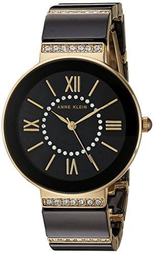 Anne Klein AK/2832BKGB nero e cristallo Swarovski Accented gold-tone orologio da uomo