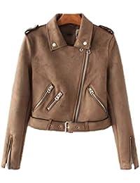 7c85da6b62 LLDE Casual Fliegerjacke Damen Leder Jacke Frauen Stylisch Bomberjacke Cool  Coat Langarm Outwear Herbst…