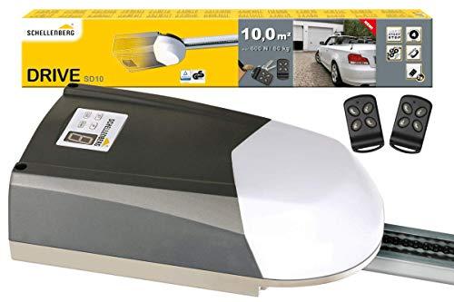 Schellenberg 60910 Garagentorantrieb Drive SD10 für Tore bis 10 m², 600N, inkl. 2 Handsender 433 MHz und Notentriegelung, Elektrischer Torantrieb mit Softstart- / Softstopp-Automatik, Garagentor Antrieb