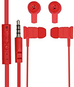 Jkobi In Ear Bud Earphones Mini Size Handsfree Headset with MIC For HTC Desire 516 With 3.5mm Jack - Red